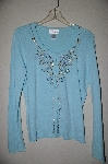 "MBADG #5-075  ""Chadwicks Light Blue Fancy Button Front Embelished Sweater"""