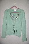 "MBADG #5-171  ""Chadwicks Light Green Button Front Fancy Embelished Sweater"""