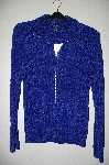 "MBADG #5-210  ""Boston Proper Blue Chenille Zip Front Cardigan"""