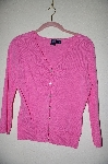 "MBADG #5-256  ""Star City Pink Knit Cardigan With Fancy Rhinestone Buttons"""