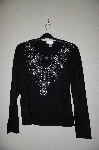 "MBADG #5-335  ""Victor Costa Faux Gemstone Encrusted Black Knit Sweater"""