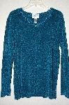 "MBADG #9-198 ""Stitches In Time Teal Chenille Tunic With Beaded Neck & Sleves"""