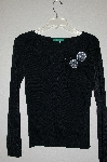 "MBADG #9-239  ""Every Day Fancy Black Knit Flower & Bead Sweater"""