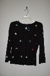 "MBADG #31-244  ""Etoile Fancy Black Purse Embroidered Button Front Sweater"""