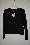 "MBADG #31-257  ""Boston Proper Black Knit Cardigan With Fancy Rhinestone Buttons"""