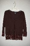 "MBADG #31-490  ""Pointelle Brown Knit Cardigan With Crochet Trim"""