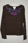 "MBADG #26-082  ""Linea By Louis Dell'Olio Green Faux Jeweled Sweater"""