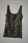 "MBADG #11-046  ""Boutique Essential Green Animal Print Stretch Tank"""
