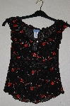 "**MBADG #11-089  ""Poetry Fancy Black Stretch Rose Embroidered Top"""