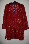 "MBAMG #25-062  ""Susan Graver Red Charmeuse Trimmed Lace Duster"""