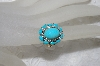 "MBAMG #25-228  ""14K Yellow Gold Oval Cut Blue Turquoise & Diamond Ring"""