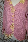 "MBA #7916   ""Pink StoryBook Sweater With Yellow Applique Flowers & Pink Pearls"