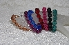 "**MBAMG #11-0784  ""Set Of 8 Dark faceted Acrylic Bead Stretch Bracelets"""