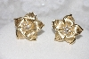 "MBAMG #11-0933  ""14K Yellow Gold Diamont Flower Earrings"""