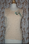 "MBA #7848   ""StoryBook Knits Limited Edition Cream Colored Rose Embroidered Tank"