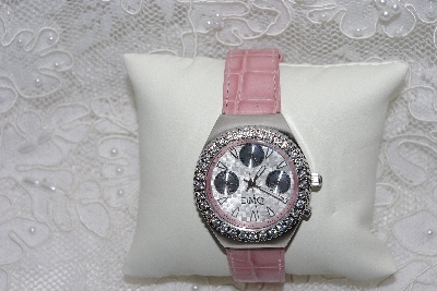 "MBAMG #12-036  ""Diamonique Pink Leather Strap Watch"""